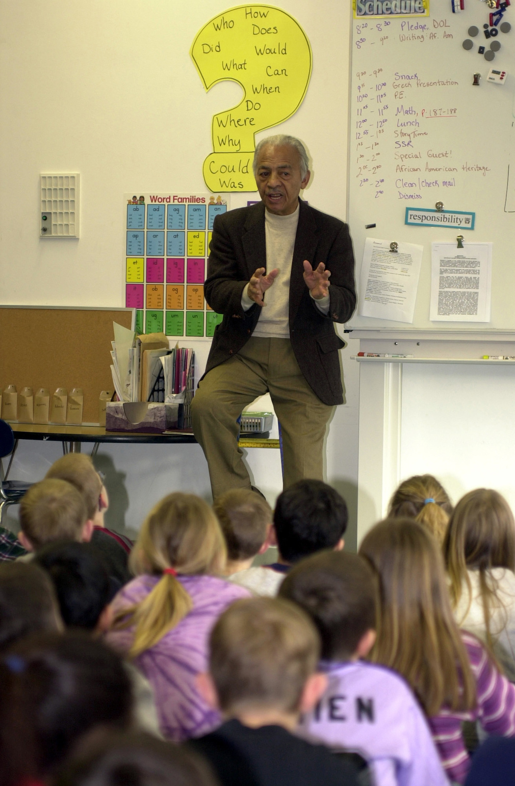 US Air Force (USAF) Lieutenant Colonel (LCOL) Herbert E. Carter (retired), one of the original Tuskegee Airmen, shares his experiences with second graders at Ramstein Elementary School, Ramstein Air Base (AB), Germany, and challenges them to succeed