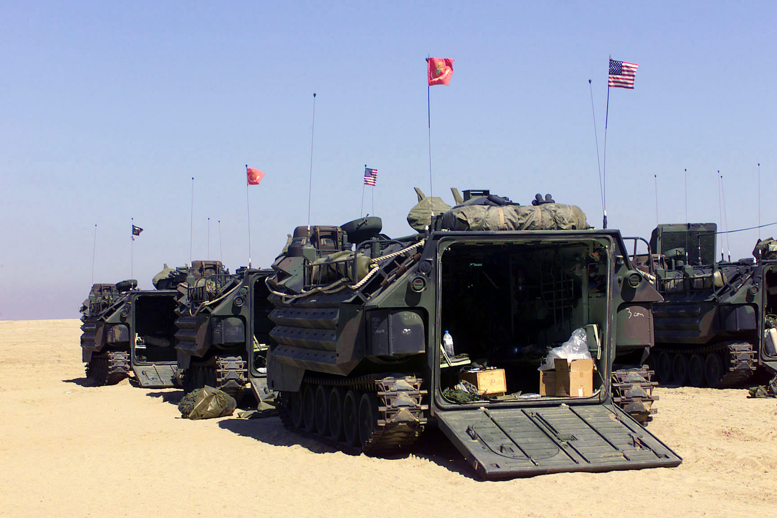 Us Marine Corps Usmc Amphibious Assault Vehicles Aav7a1 Assigned To The 3rd Amphibious Assault Battalion Aab 1st Marine Division At Camp Coyote Kuwait During Operation Enduring Freedom U S National Archives Public
