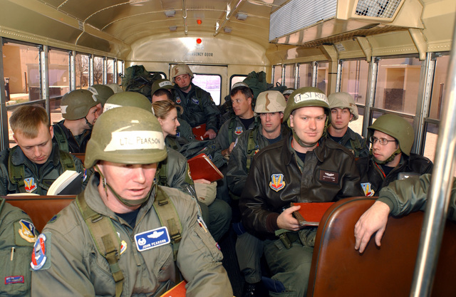 US Air Force (USAF) fight crews assigned to the 522nd and 523rd Fighter Squadrons (FS), travel across the flight line on a crew bus, during the Operational Readiness Inspection (OIR) exercise at Cannon Air Force Base (AFB), New Mexico (NM)
