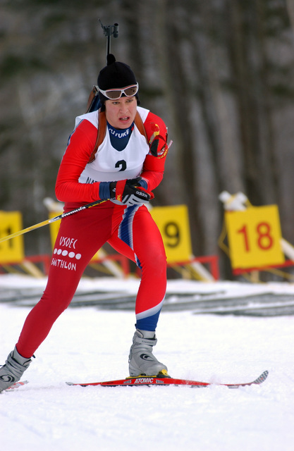 US Army (USA) SPECIALIST Fourth Class (SPC4) Sarah Riley, Michigan (MI) Army National Guard (ANG) skis to a 1ST place finish with a time of 53 minutes 43 seconds, during the 15-Kilometer, Women Individual Biathlon Competition, held during the CHIEF of the National Guard Biathlon Championships, on the Firing Range at Fort Ethan Allen, Jericho, Vermont (VT)