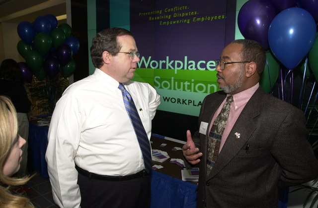 Administrator Christine Todd Whitman and AA OARM Morris Winn, Workplace Solutions Fair at EPA cafeteria [412-APD-A117-DSC_0146.JPG]