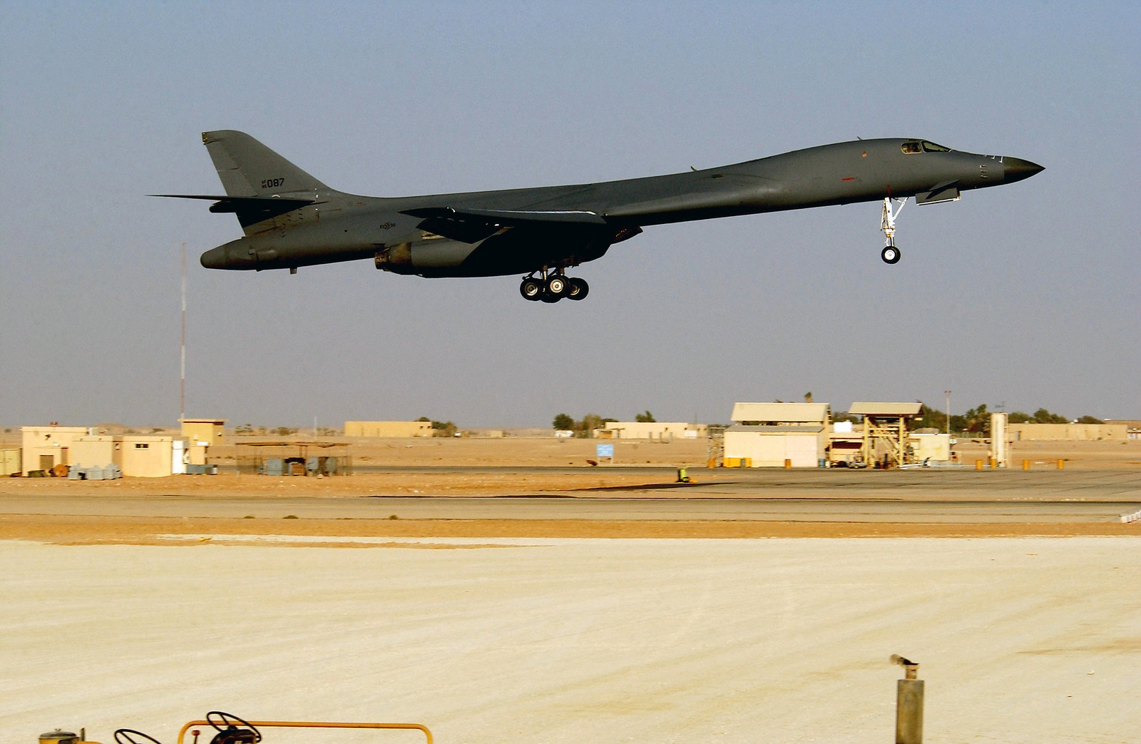 A US Air Force (USAF) B-1B Lancer aircraft on final approach to landing at an undisclosed forward deployed location during Operation ENDURING FREEDOM