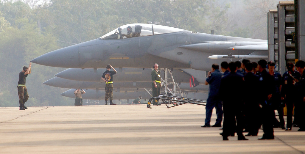 Royal Thai Air Force (RTAF) Maintainers look on as US Air Force