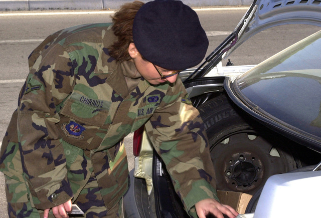 US Air Force (USAF) AIRMAN (AMN) Katherine Chirinos, 31st Security Forces Squadron (SFS), checks the trunk of a car for illegal contraband, during a random vehicle inspection, at Aviano Air Base (AB), Italy