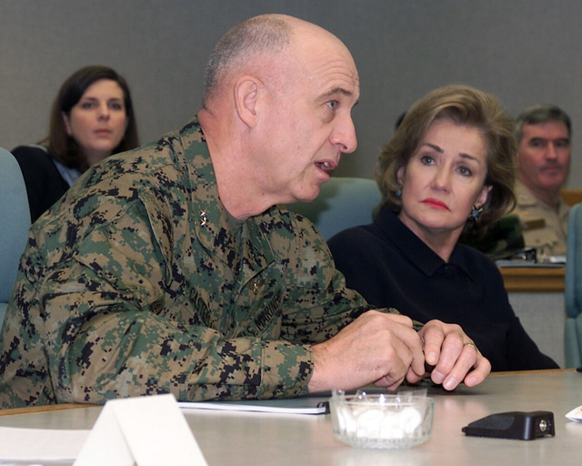 US Marine Corps (USMC) Major General (MGEN) John G. Castellaw (foreground) Commanding General, 2nd Marine Air Wing (MAW), speaks as US Senator The Honorable Elizabeth Dole (R-NC) looks on during briefing held at the Naval Aviation Depot (NADEP) at Marine Corps Air Station (MCAS) Cherry Point, North Carolina (NC)