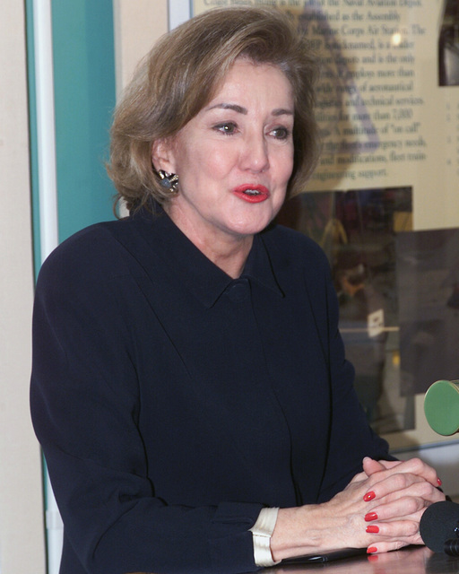 US Senator The Honorable Elizabeth Dole (R-NC) speak during a press conference held at the Pass and Identification Building, during her visit at Marine Corps Air Station (MCAS) Cherry Point, North Carolina (NC)