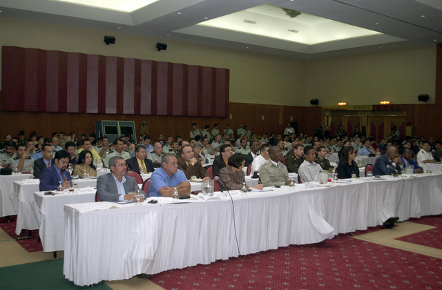 US Southern Command (USSOUTHCOM) sponsored participants from Central America, the Caribbean and the US Army South (USARSO) gather during a seminar at the Inter-Continental Hotel Convention Center in Managua, Nicaragua, during Exercise Fuerzas Aliadas Humanitarian 2003 (FA- HUM 03). The Exercise design is to continue the development of regional disaster management plans and to improve the direct integration and cooperation among the nations and agencies involved