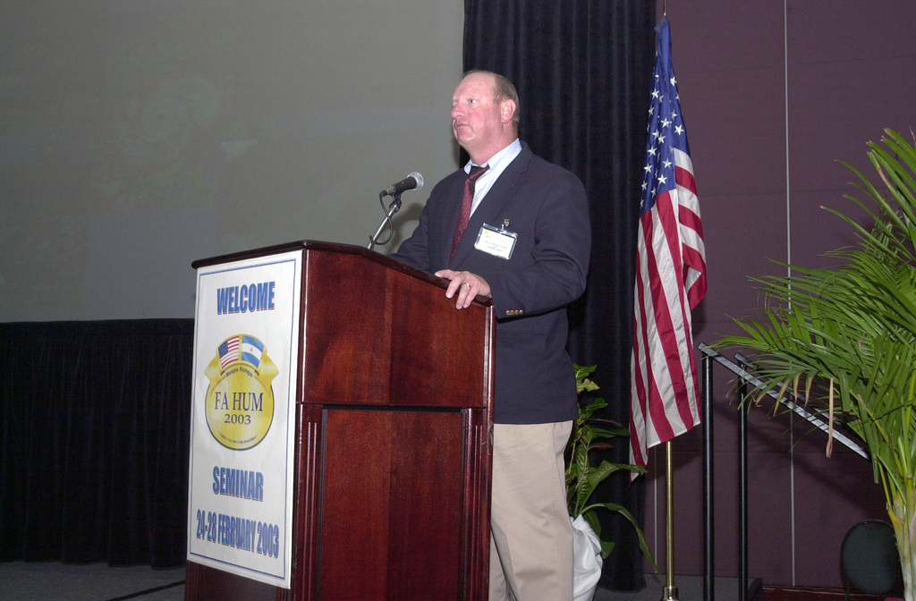 Mr. Glendon Coffee, US Corps of Engineers, speaks during a seminar at the Inter-Continental Hotel Convention Center in Managua, Nicaragua, during Exercise Fuerzas Aliadas Humanitarian 2003 (FA- HUM 03). The Exercise sponsored by the Southern Command (USSOUTHCOM), is designed to continue the development of regional disaster management plans and to improve the direct integration and cooperation among the nations and agencies involved
