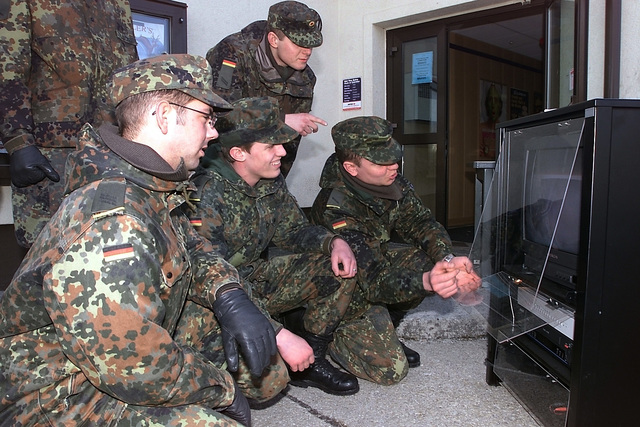 At Spangdahlem Air Base (AB), Deutschland / Germany (DEU) Bundeswehr Soldiers receive training in the use of the Under Vehicle Surveillance System, so they can help provide base security