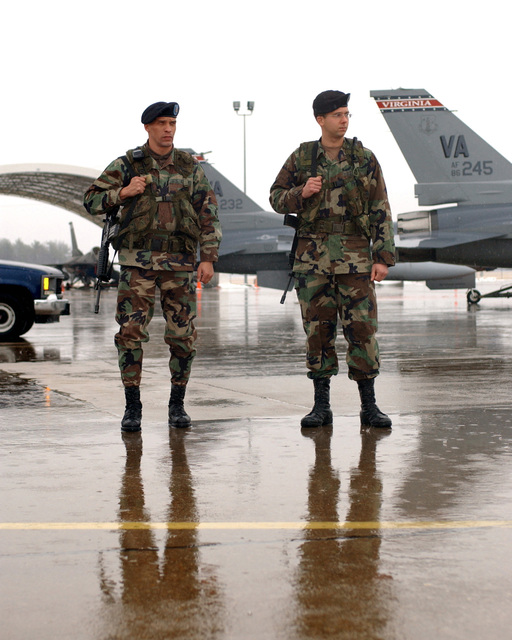 On a cold and wet flightline, STAFF Sergeant (SSGT) Sherwood Smith, a 13 Bravo Artillery GUNNER with the Virginia Army National Guard's (ANG), stands guard with Sergeant (SGT) Preston Judson, both from the 1ST/111th Field Artillery Unit, at the Virginia Air National Guards (ANG) 192d Fighter Wing (FW). As a result of a Major Command (MAJCOM) decision the ANG has been directed to supplement USAF security personnel
