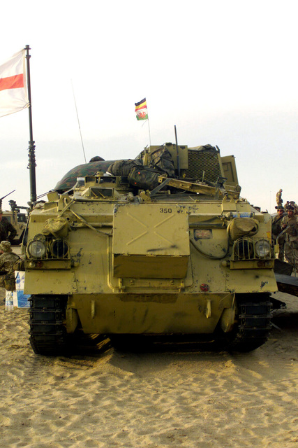 Front view of a British FV432 Armored Personnel Carrier (APC) during a visit to Camp Coyote, Kuwait
