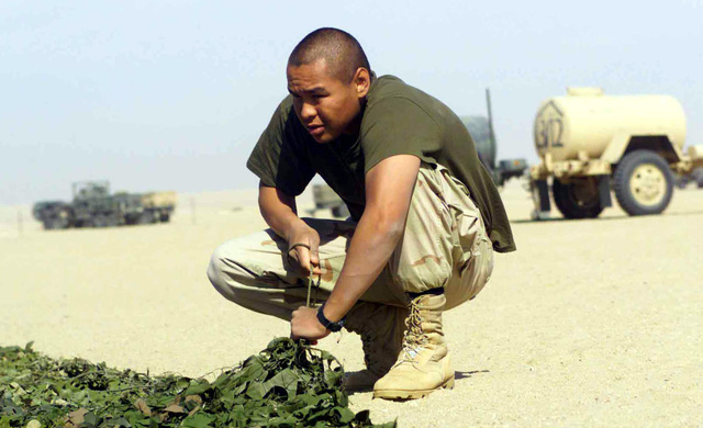 US Marine Corps (USMC) Lance Corporal (LCPL) Jamie Buenrostro, with Lima Battery, 3rd Battalion, 11th Marines, patches together camouflage netting at Camp Coyote, Kuwait, in support of Operation ENDURING FREEDOM