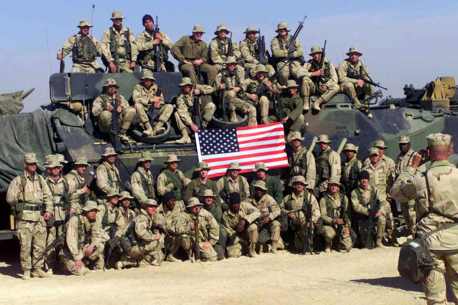 US Marine Corps (USMC) Marines with the Amphibious Assault Vehicles, Bravo  Company, 1ST Battalion, 7th Marines,