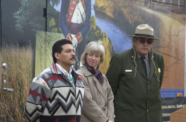 Photograph, from coverage of events marking opening of Lewis and Clark Bicentennial traveling exhibit, Corps of Discovery II, on National Mall, Washington, D.C., selected for use in preparation of Department of Interior video on tenure of departing Secretary Gale Norton