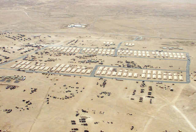 An aerial view of the1st Marine Division Main, Command Operation Center (COC) operated by US Marine Corps (USMC) personnel assigned to Headquarters Battalion, 1ST Marine Division, at Camp Matilda, Kuwait, during Operation ENDURING FREEDOM