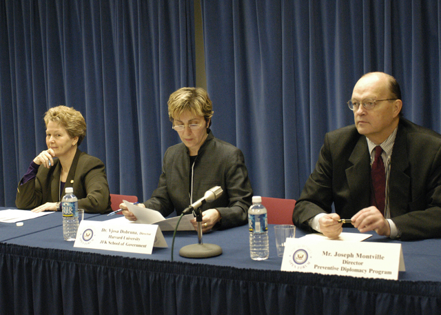 [Assignment: 59-CF-SA-4068-03] Secretary's Open Forum session, featuring former U.S. Ambassador to Austria, and Director of the Women and Public Policy Program at Harvard University, Swanee Hunt, [along with: the Director of the John F. Kennedy School of Government at Harvard University, Vjosa Dobruna; the Director of the Preventive Diplomacy Program at Washington, D.C.'s Center for Strategic and International Studies, Joseph Montville; and Open Forum Chairman William Keppler] [Photographer: Mark Stewart--State] [59-CF-SA-4068-03_AMB_Bonnie_Hunt_SOF_09.jpg]
