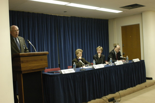 [Assignment: 59-CF-SA-4068-03] Secretary's Open Forum session, featuring former U.S. Ambassador to Austria, and Director of the Women and Public Policy Program at Harvard University, Swanee Hunt, [along with: the Director of the John F. Kennedy School of Government at Harvard University, Vjosa Dobruna; the Director of the Preventive Diplomacy Program at Washington, D.C.'s Center for Strategic and International Studies, Joseph Montville; and Open Forum Chairman William Keppler] [Photographer: Mark Stewart--State] [59-CF-SA-4068-03_AMB_Bonnie_Hunt_SOF_25.jpg]