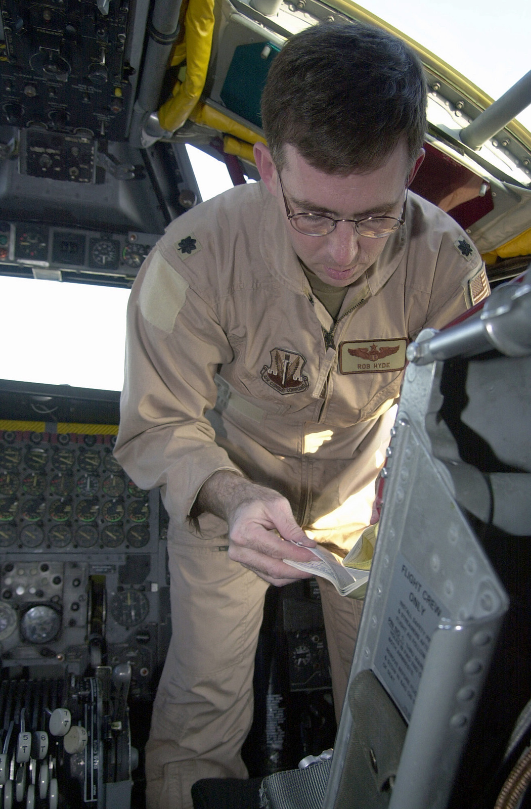 US Air Force (USAF) Lieutenant Colonel (LCOL) Robert D. Hyde, Director of Operations 23rd Expeditionary Bomb Squadron (EBS), Minot, North Dakota, performs a preflight safety check just before a B-52H Stratofortress Bomber flight