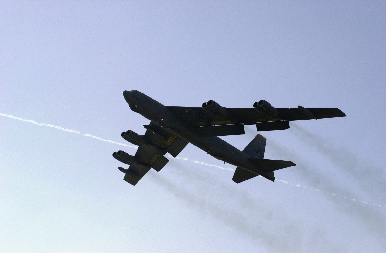 A US Air Force (USAF) B-52H Stratofortress aircraft assigned to the 457th Air Expeditionary Group (AEG), 23rd Expeditionary Bomb Squadron (EBS) takes off at Royal Air Force (RAF) Fairford, England