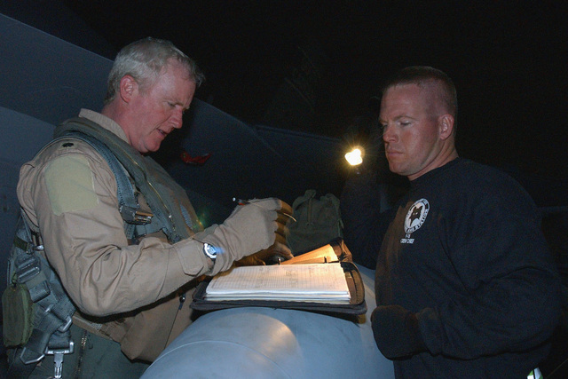 An unidentified US Air Force (USAF) F-16CJ Fighting Falcon aircraft Pilot (left), assigned to the 157th Expeditionary Fighter Squadron (EFS), 379th Air Expeditionary Wing (AEW), South Carolina (SC), Air National Guard (ANG), reviews his aircrafts maintenance logbook with his Crew CHIEF, USAF STAFF Sergeant (SSGT) Robert Bostic, after returning from a combat sortie, during Operation ENDURING FREEDOM