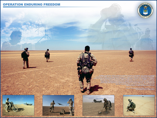 A photographic poster depicting various images taken by US Air Force (USAF) STAFF Sergeant (SSGT) Jeremy T. Lock, from the 1ST Combat Camera Squadron (CCS), of Combat Controllers (CCT) during a training exercise at an undisclosed location in support of Operation ENDURING FREEDOM