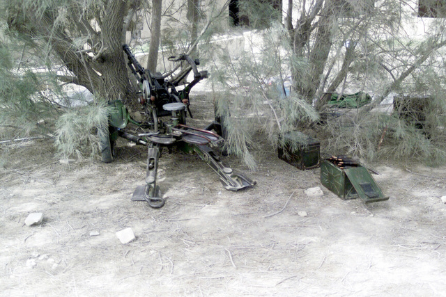 A ZPU-1 14.5mm heavy anti-aircraft gun position captured by US Marine Corps (USMC) Marines assigned to the 15th Marine Expeditionary Unit (MEU), conducting patrols the streets of Umm Qasr, Iraq, during Operation IRAQI FREEDOM
