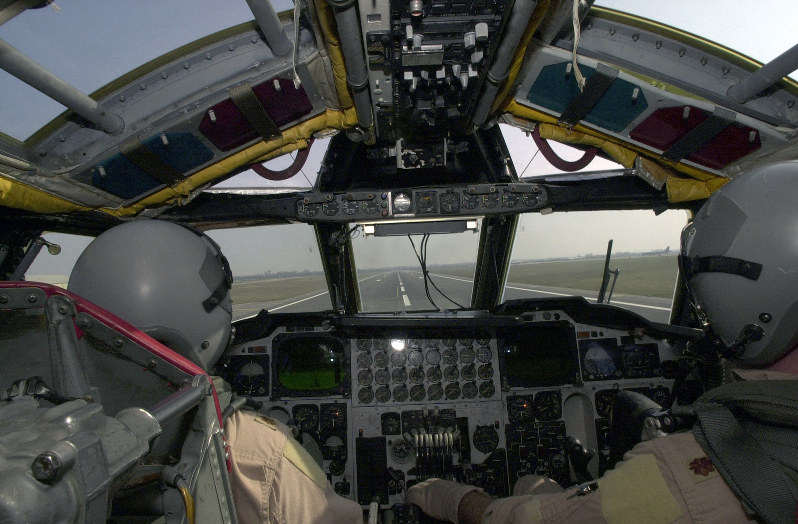 A navigators point of view onboard a US Air Force (USAF) B-52H Stratofortress aircraft assigned to the, 457th Air Expeditionary Group, 23rd Expeditionary Bomb Squadron, taking off at Minot AFB, North Dakota (ND), for a mission over Iraq, in support of Operation IRAQI FREEDOM