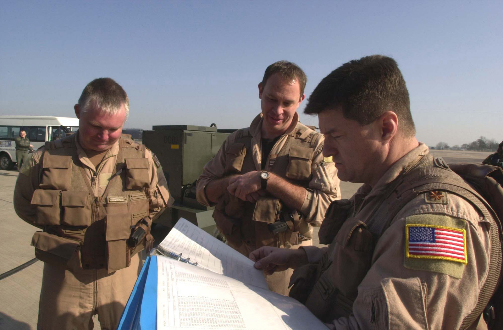 US Air Force (USAF) Major (MAJ) Jeffrey, Aircraft Commander (right), USAF MAJ Gregory, Pilot, and USAF MAJ William (left), Electronic Warfare Officer (EWO), all from 23rd Expeditionary Bomb Squadron (EBS), Minot Air Force Base (AFB), North Dakota (ND), go over the checklist to their B-52H Stratofortress bomber prior to a mission against Iraqi targets, during Operation IRAQI FREEDOM