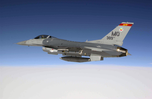 US Air Force (USAF) Lieutenant Colonel (LCOL) Philip Hoover, an F-16CJ Fighting Falcon pilot with the 389th Fighter Squadron (FS), Mountain Home Air Force Base (AFB), Idaho, flies over the Gulf of Mexico, in order to fire an AIM-120A Advanced Medium Range Air-to-Air Missile (AMRAAM) at a sub-scale aerial target drone during a Combat Archer mission
