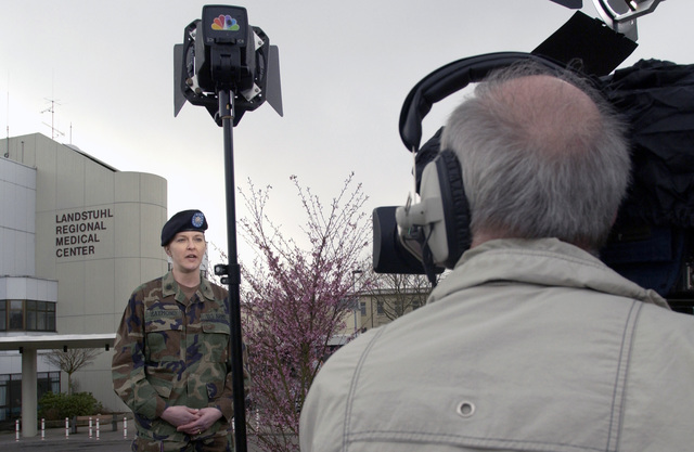 US Army (USA) Lieutenant Colonel (LTC) Susan Raymond, Head Intensive Care Unit Nurse, Landstuhl Regional Medical Center, Germany, speaks live via satellite with the NBC Today Show, on the current condition of patients that sustained wounds during Operation IRAQI FREEDOM
