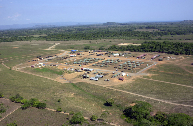"""Overhead view of the Joint Task Force Chiriqui Base Camp""""Amistad,""""the home of New Horizons 03, Las Lajas, Chiriqui Province, Panama, March 29, 2003. (U.S. Army photo by Kaye Richey) (Released)"""