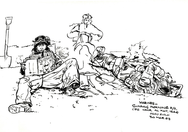A hand-sketched illustration by US Marine Corps (USMC) Sergeant (SGT) Jack M. Carrillo, showing USMC Combat Engineers assigned to Delta/Company, 1ST Tank Battalion, take rest and relaxation (R&R) time and viewing a copy of Playboy Magazine, along Route One in Southern Iraq, during Operation IRAQI FREEDOM