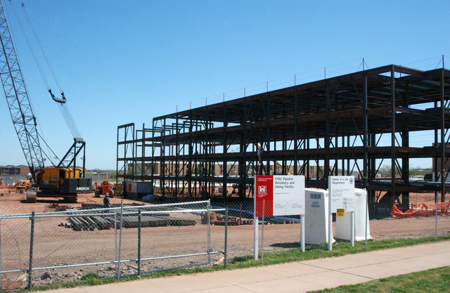 Construction of the new 4-story Student Dormitories and Dining Facility begins at Sheppard Air Force Base (AFB), Texas (TX). The dorms are designed to meet the new security measures mandated following the 9/11 incidents