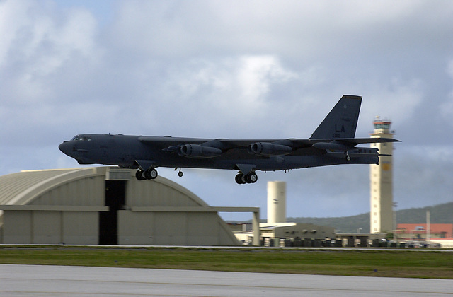 A US Air Force (USAF) B-52 Stratofortress Bomber deployed from Barksdale Air Force Base (AFB), Louisiana, takes off from Andersen AFB, Guam, in support of the 7th Air Expeditionary Wing's mission
