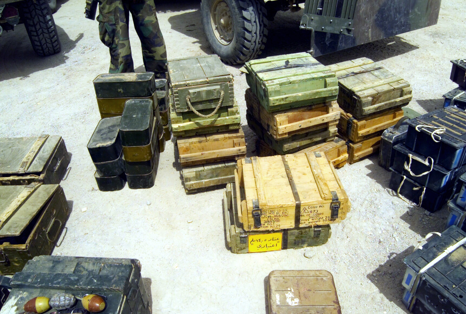 A weapons cache of Grenades, mortar rounds and various