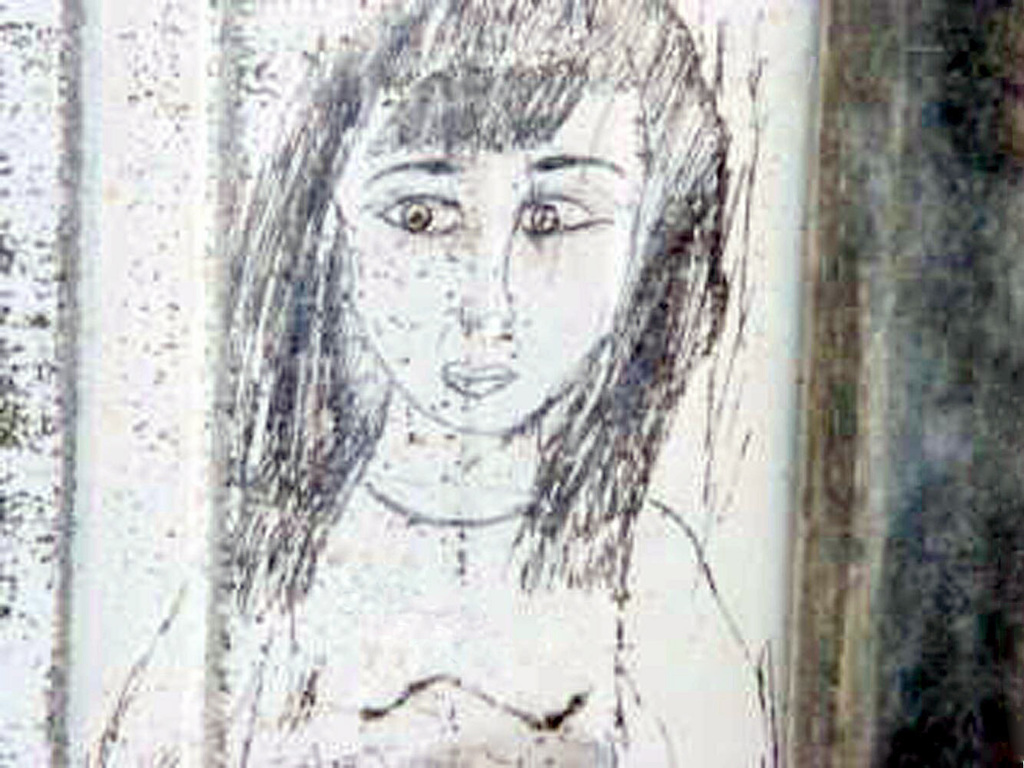 Drawing of a female found in the interior of a warehouse where hundreds of human skeletal remains are in wooden caskets
