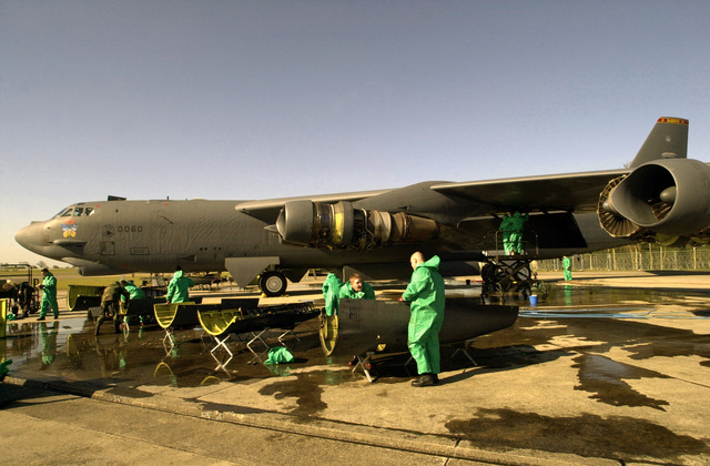 US Air Force (USAF) maintenance crews from Minot Air Force Base (AFB), deployed to a forward location wash a B-52 Stratofortress bomber from the 457th Air Expeditionary Group (AEG), in support of Operation IRAQI FREEDOM