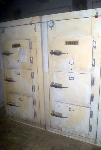 The morgue where bodies of dead soldiers lay in lockers just outside of a hospital in Ar Rustamiyah, Iraq during Operation IRAQI FREEDOM
