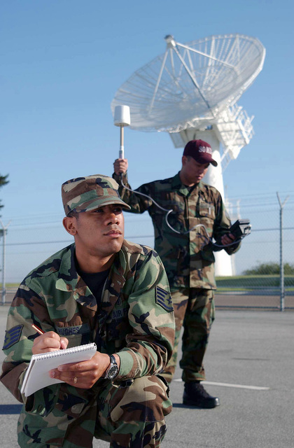 US Air Force (USAF) STAFF Sergeant (SSGT) Christopher Hughes (front) and USAF SENIOR AIRMAN (SRA) Michael Galang, Bio-Environmental Engineers, 30th Medical Group (MG), use a Narda Probe to perform a radio frequency survey on a radar dish providing satellite telemetry, tracking, and command, of the satellite control network from the Vandenberg Tracking Station, Vandenberg Air Force Base (AFB), California (CA)