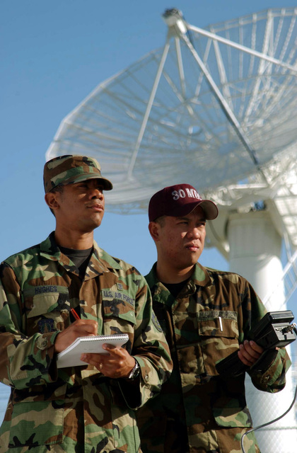 US Air Force (USAF) STAFF Sergeant (SSGT) Christopher Hughes (left) and SENIOR AIRMAN (SRA) Michael Galang, both Bio-Environmental Engineers from the 30th Medical Group, use a Narda Probe to perform a radio frequency survey on a radar dish at, Vandenberg Air Force Base (AFB), California (CA)
