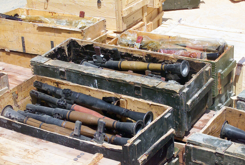 A weapons stockpile of RPG-7V 40mm Antitank Launchers discovered in a Baghdad elementary school during Operation IRAQI FREEDOM