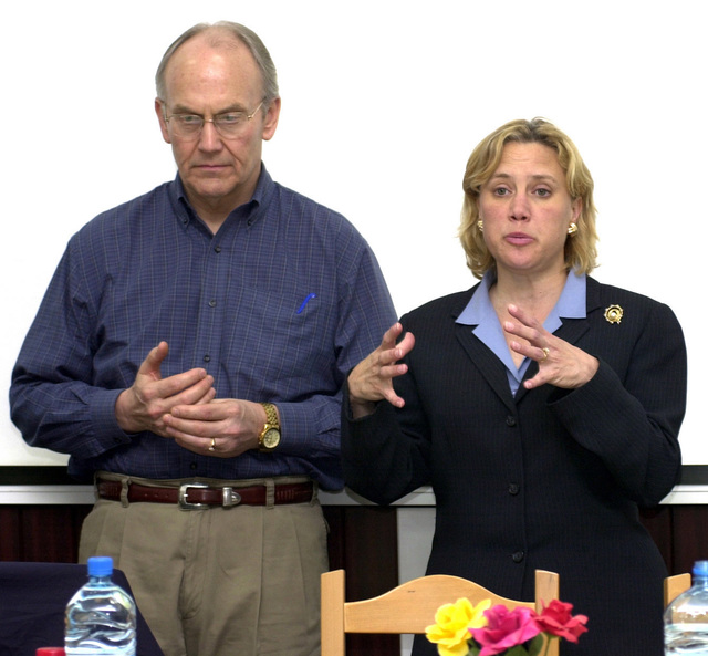 US Senators The Honorable Larry Craig (left) (R-Idaho) The Honorable Mary Landrieu (D-Louisiana) addresses US Military service members assigned to the 458th Air Expeditionary Group (AEG) at Mihail Kogalniceanu Air Base (AB), Romania, during Operation IRAQI FREEDOM