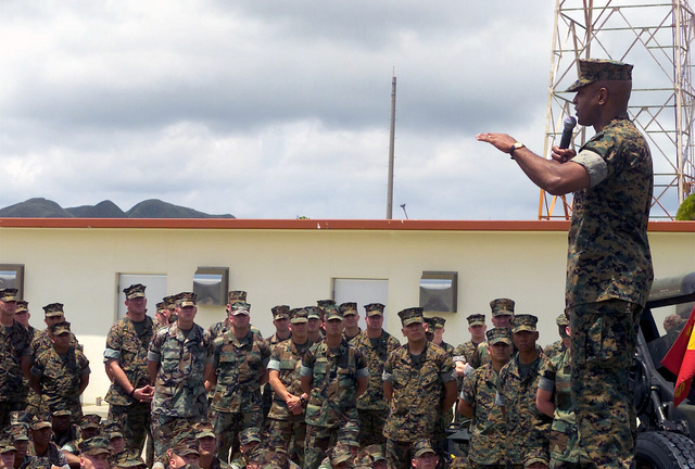 Sergeant Major of the Marine Corps Alford McMichael, visits with the 12th Marines at the gun park at Camp Hansen, Okinawa, Japan