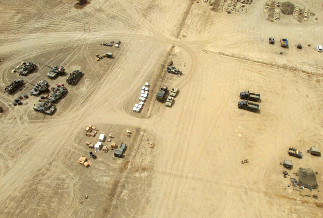 Aerial view of Camp Fenway, operated by US Marine Corps (USMC) Marines assigned to the 24th Marine Expeditionary Unit (MEU), Special Operations Capable (SOC), in Southern Iraq during Operation IRAQI FREEDOM