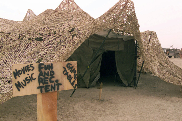 A view of the Recreation tent operated by the US Marine Corps (USMC) 24th Marine Expeditionary Unit (MEU) Special Operations Capable (SOC), at Camp Fenway, Iraq, during Operation IRAQI FREEDOM
