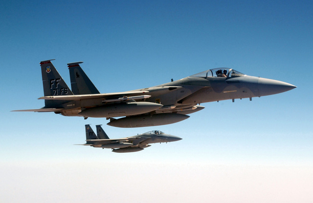 A pair of US Air Force (USAF) F-15C Eagles, 1ST Fighter Wing
