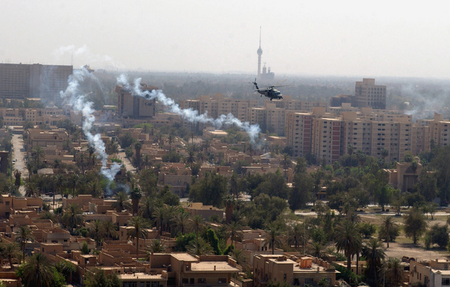 A US Air Force (USAF) HH-60G Black Hawk helicopter from the 301st Rescue Squadron, flies a mission over Baghdad, Iraq. The Combat Search and Rescue (CSAR) unit is currently deployed to Baghdad International Airport in support of during Operation IRAQI FREEDOM