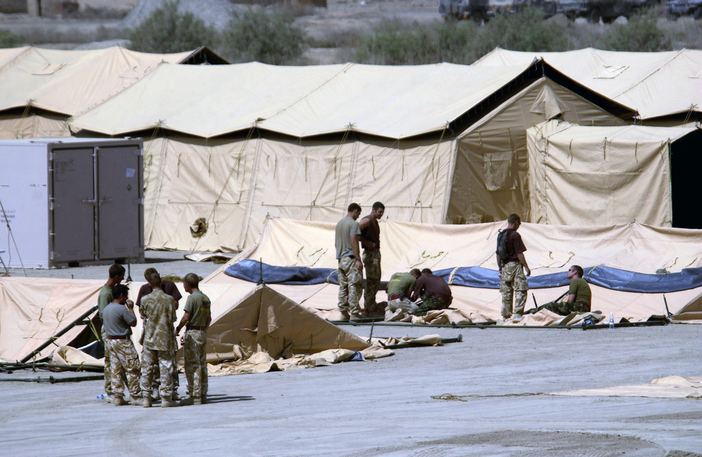 British Royal Engineers build TEMPER (Tent, Extendable