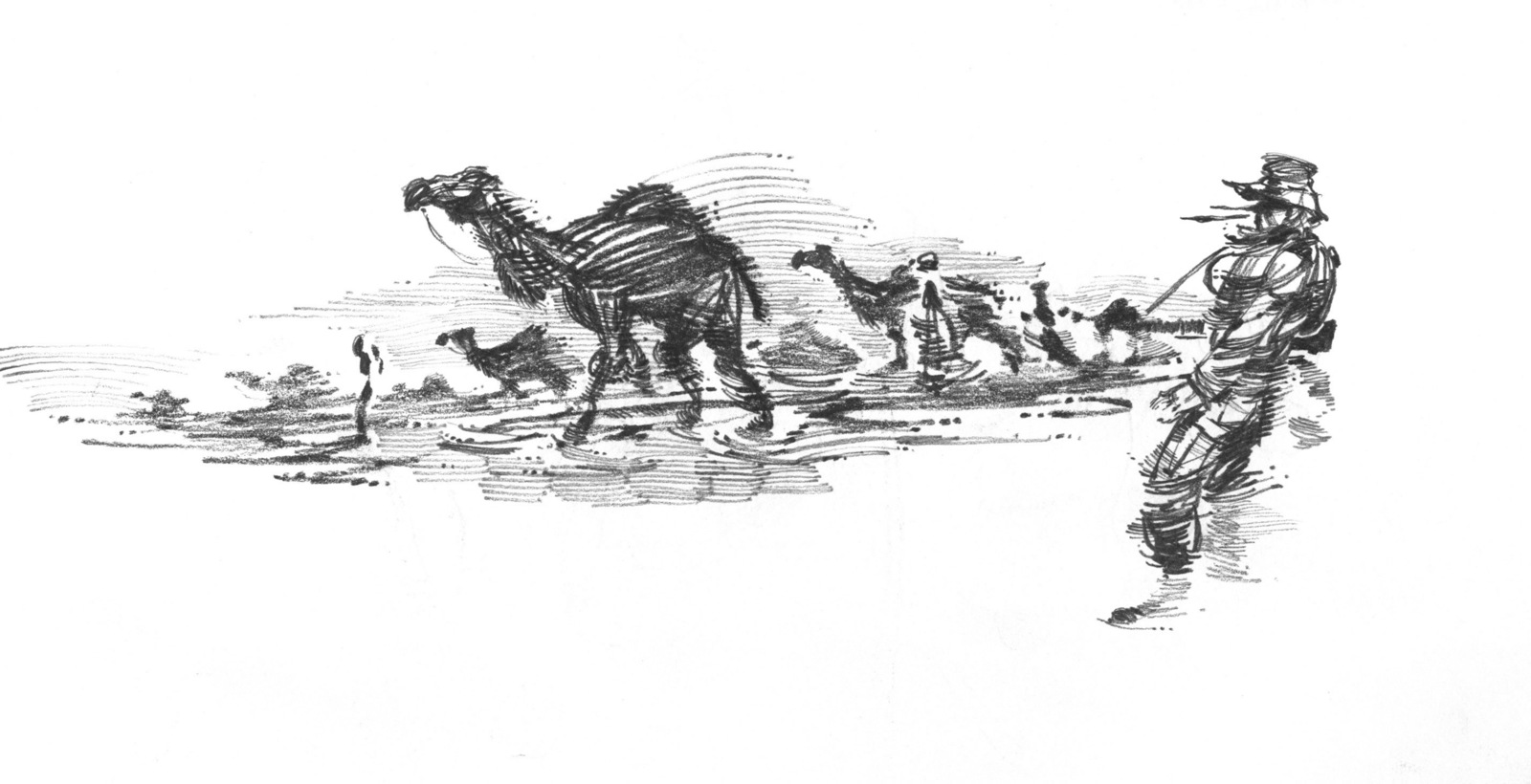 A hand-sketched illustration by US Marine Corps (USMC) Sergeant (SGT) Jack M. Carrillo, showing a USMC Marine assigned to C/Company, 1ST Tank Battalion, conducting a roving watch as a group of camels moves past his position, during a sand storm. Illustrated during Operation IRAQI FREEDOM