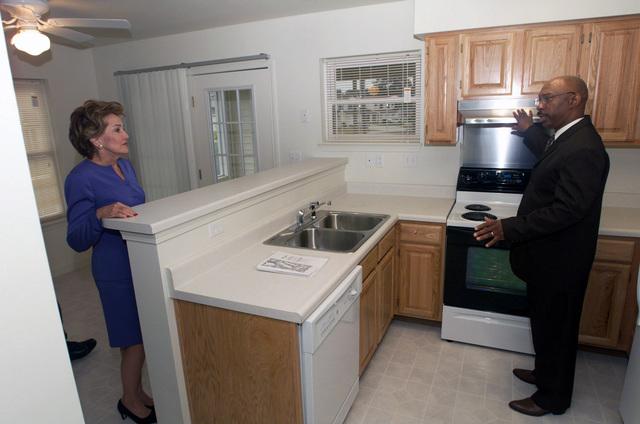 US Senator for North Carolina, Elizabeth Dole, Republican, is briefed on living quarters aboard Marine Corps Base (MCB) Camp Lejeune, North Carolina, during an official visit